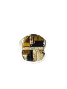 Jasper, Tiger Eye & Jet Inlay Ring Size 10 (RG5077-S10)