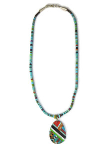Multi Gemstone Inlay Heishi Pendant Necklace by Ronald Chavez (NK4713)