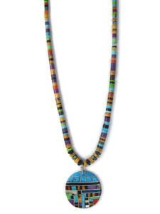Multi Gemstone Inlay Heishi Pendant Necklace by Ronald Chavez (NK4714)