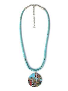 Multi Gemstone Inlay Turquoise Heishi Pendant Necklace (NK4715)