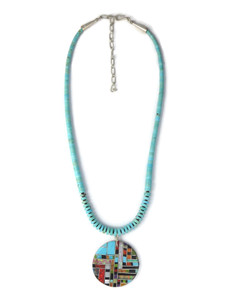 Multi Gemstone Inlay Turquoise Heishi Pendant Necklace (NK4715)