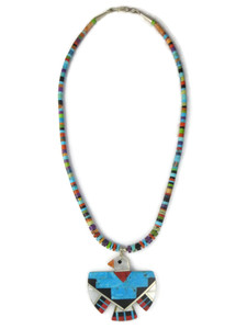 Multi Gemstone Inlay Thunderbird Heishi Necklace by Ronald Chavez (NK4716)