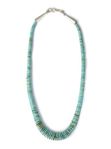 "Turquoise Heishi Necklace 17"" by Ronald Chavez (NK4719)"