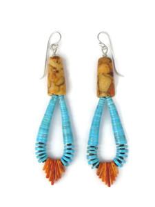 """Turquoise, Sponge Coral & Orange Spiny Oyster Shell Jacla Earrings 3 1/2"""" (ER5468)"""