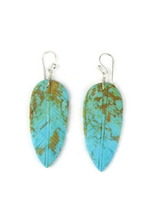 Turquoise Feather Slab Earrings (ER5474)