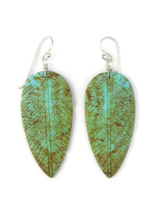 Turquoise Feather Slab Earrings (ER5475)