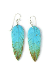 Turquoise Feather Slab Earrings (ER5476)