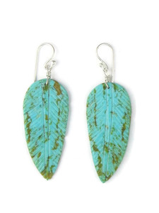 Turquoise Feather Slab Earrings (ER5477)