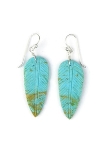 Turquoise Feather Slab Earrings (ER5488)
