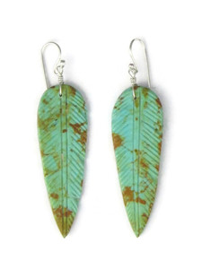 Turquoise Feather Slab Earrings (ER5492)