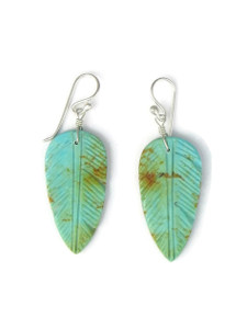 Turquoise Feather Slab Earrings (ER5494)