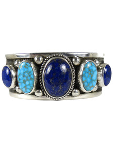 Lapis & Kingman Turquoise Row Bracelet by Albert Jake (BR7003)