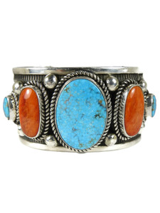 Kingman Turquoise & Spiny Oyster Shell Bracelet by Albert Jake (BR7005)