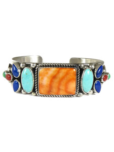 Spiny Oyster Shell, Turquoise, Lapis & Coral Bracelet by Albert Jake (BR7007)