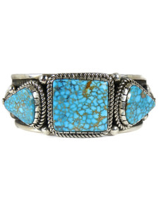 Spider Web Kingman Turquoise Bracelet - Large by Albert Jake (BR7009)