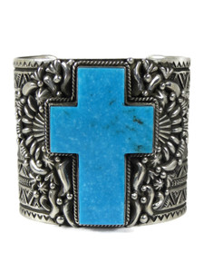 Kingman Turquoise Cross Cuff Bracelet by Tsosie White (BR7013)