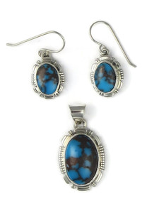 Egyptian Turquoise Earrings & Pendant Set (PD4430)