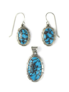 Kingman Turquoise Earring & Pendant Set by Arlene Yazzie (PD4431)