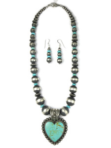 Kingman Turquoise Heart Necklace Set by Happy Piaso (NK4726)
