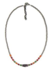 Turquoise & Spiny Oyster Shell Silver Bead Necklace (NK4727)