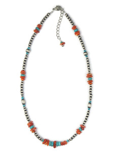 Turquoise & Spiny Oyster Shell Silver Bead Necklace (NNK4728)
