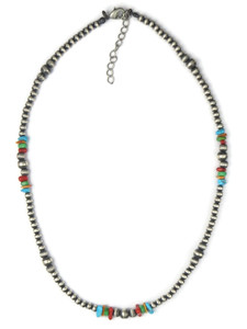Multi Gemstone Silver Bead Necklace (NK4729)