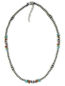 Multi Gemstone Silver Bead Necklace (NK4729)