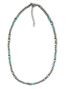 Turquoise Silver Bead Necklace (NK4731)