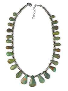 Turquoise Silver Bead Tab Necklace (NK4733)