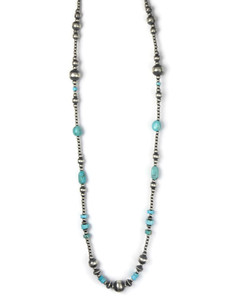 Long Turquoise Silver Bead Necklace (NK4734)