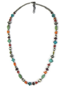 Turquoise & Spiny Oyster Shell Treasure Necklace (NK4735)