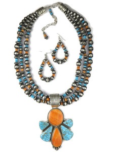 Kingman Turquoise & Spiny Oyster Shell Necklace Set by LaRose Ganadonegro (NK4736)