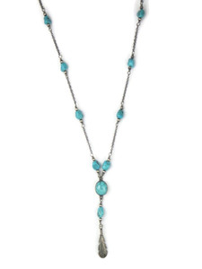 Turquoise Silver Feather Necklace by Bernise Chavez (NK4737)