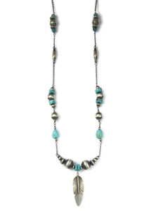 "Long Turquoise Silver Bead Feather Necklace 35"" (NK4739)"