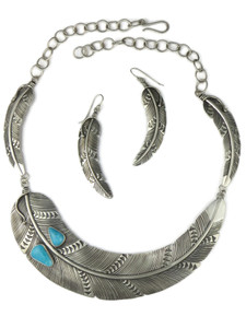 Blue Ridge Turquoise Silver Feather Necklace Set by Lambert Perry (NK4742)