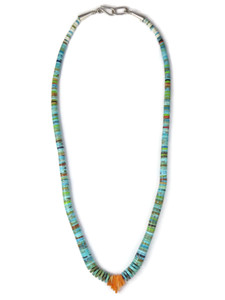 Turquoise & Spiny Oyster Shell Jacla Necklace (NK4745)