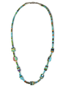 Turquoise Multi Gemstone Inlay Bead Heishi Necklace (NK4747)