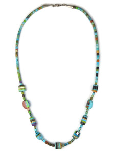 Turquoise Multi Gemstone Inlay Bead Heishi Necklace (NK4747)