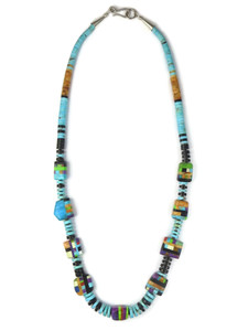 Turquoise Multi Gemstone Inlay Bead Heishi Necklace (NK4748)
