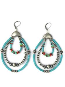Turquoise, Gemstone & Silver Bead Multi Loop Earrings (ER5031)