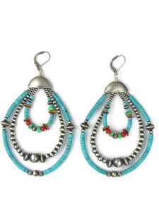 Turquoise, Gemstone & Silver Bead Multi Loop Earrings (ER5031)