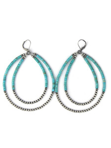 "Turquoise Silver Bead Double Loop Earrings 3 1/2""(ER5032)"