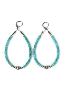"""Turquoise Silver Bead Loop Earrings 3 1/4"""" (ER5033)"""