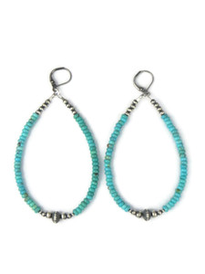 "Turquoise Silver Bead Loop Earrings 3 1/4"" (ER5033)"