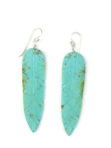 "Turquoise Feather Slab Earrings 3"" (ER5089)"