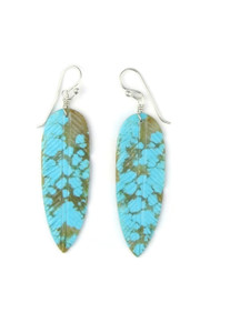 Turquoise Feather Slab Earrings (ER5060)