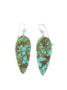 Turquoise Feather Slab Earrings (ER5061)