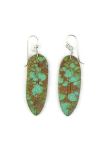 Turquoise Feather Slab Earrings (ER5362)