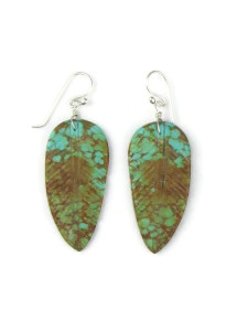 Turquoise Feather Slab Earrings (ER5563)