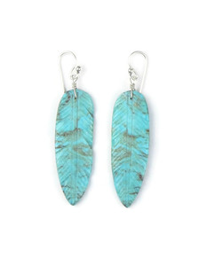 Turquoise Feather Slab Earrings (ER5564)